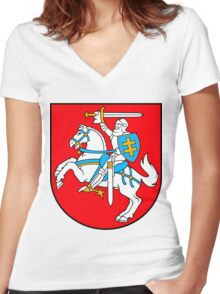 Lithuania | Europe Stickers | SteezeFactory.com Women's Fitted V-Neck T-Shirt