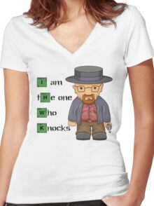 """""""I am the one who knocks!!"""" Walter White - Breaking Bad Women's Fitted V-Neck T-Shirt"""