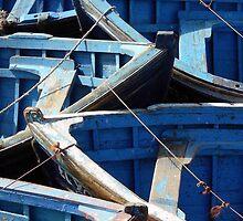 Blue Boats in Essaouira Morocco by Kieta Mall Skoglund