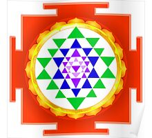 Sri Yantra With Faux Gold Foil Poster