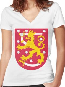 Finland | Europe Stickers | SteezeFactory.com Women's Fitted V-Neck T-Shirt