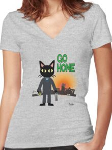 Go Home Women's Fitted V-Neck T-Shirt