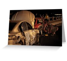 accident at night road Greeting Card