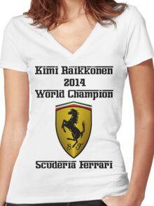 Kimi Raikkonen World Champion 2014 Women's Fitted V-Neck T-Shirt