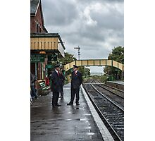 Chatting on a wet Platform 2 Photographic Print