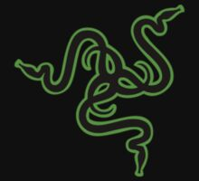 Razer Black green Outlined Logo T-Shirt by ItsMyVizion