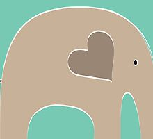 Safari Elephant - Turquoise by Elephant Love