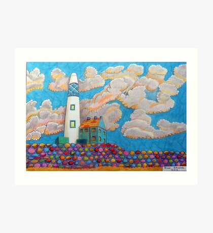 394 - FANTASY LIGHTHOUSE - DAVE EDWARDS - COLOURED PENCILS - 2013 Art Print