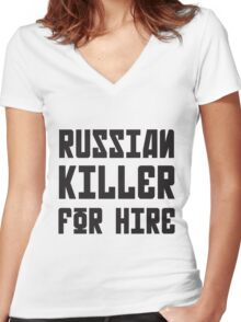 Russian Killer For Hire Women's Fitted V-Neck T-Shirt