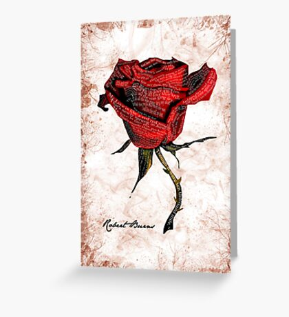 My love is like a red, red rose Greeting Card