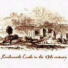 A digital painting of Kenilworth Castle in the 17th century by Dennis Melling