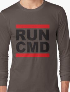 Run Command Black Text Long Sleeve T-Shirt