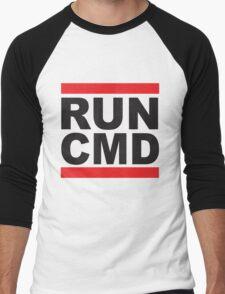 Run Command Black Text Men's Baseball ¾ T-Shirt