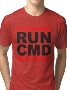 Run Command Black Text Tri-blend T-Shirt
