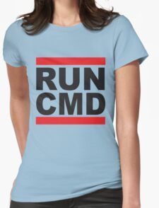 Run Command Black Text Womens Fitted T-Shirt