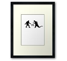 Bigfoot vs Dinosaur  Framed Print