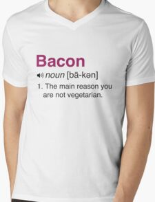 Funny Bacon Definition Mens V-Neck T-Shirt