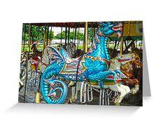 Vintage, Carnival, Carousel, Sea Horse Greeting Card