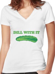 Dill with it Women's Fitted V-Neck T-Shirt