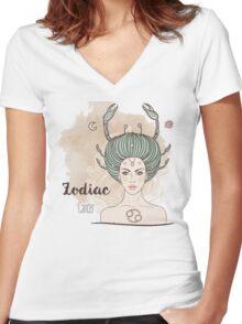 Zodiac Cancer Women's Fitted V-Neck T-Shirt