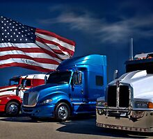 Red, White and Blue Semi-Trucks by TeeMack