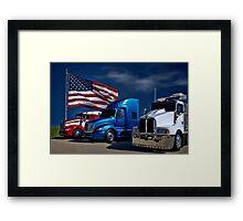 Red, White and Blue Semi-Trucks Framed Print