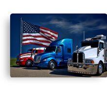 Red, White and Blue Semi-Trucks Canvas Print