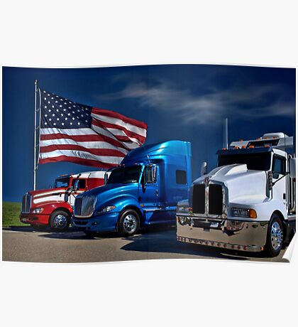 Red, White and Blue Semi-Trucks Poster