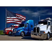 Red, White and Blue Semi-Trucks Photographic Print