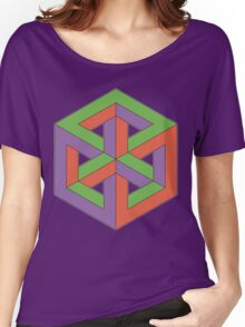 Penrose Cube - Green Purple Orange Women's Relaxed Fit T-Shirt