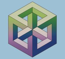 Penrose Cube - Green Purple Gradation by VanHogTrio