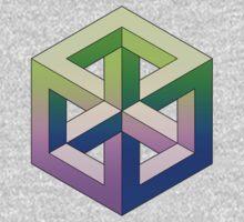 Penrose Cube - Green Purple Gradation One Piece - Long Sleeve