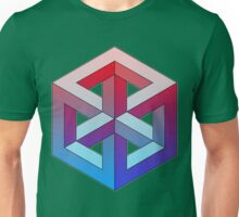 Penrose Cube - Red Blue Gradation Unisex T-Shirt