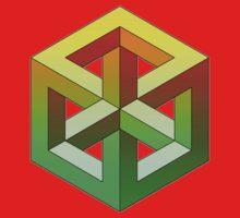 Penrose Cube - Yellow Green Gradation One Piece - Short Sleeve