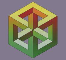 Penrose Cube - Yellow Green Gradation Kids Tee