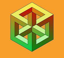 Penrose Cube - Yellow Green Gradation Unisex T-Shirt