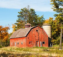 Old Red Barn and Silo by Kenneth Keifer