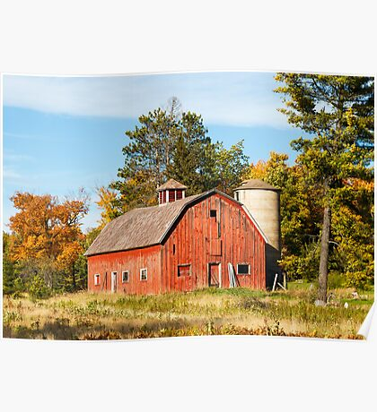 Old Red Barn and Silo Poster