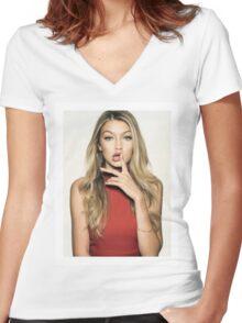 Gigi Hadid Women's Fitted V-Neck T-Shirt