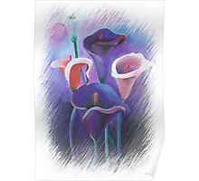 Purple Callas With Fringed Edge Border Poster
