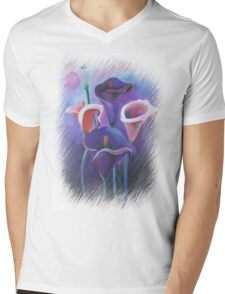 Purple Callas With Fringed Edge Border Mens V-Neck T-Shirt