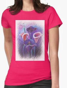 Purple Callas With Fringed Edge Border Womens Fitted T-Shirt