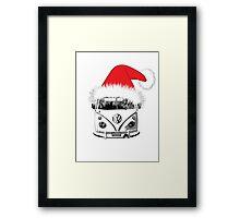 VW Camper Christmas hat Framed Print