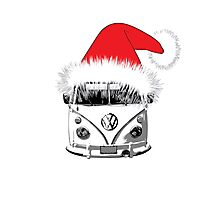 VW Camper Christmas hat Photographic Print