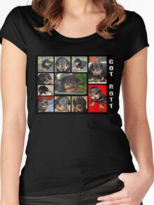 Rottweiler With Got Rott? Message Collage Women's Fitted Scoop T-Shirt