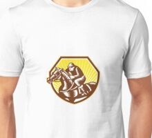 Thoroughbred Horse Racing Woodcut Retro Unisex T-Shirt