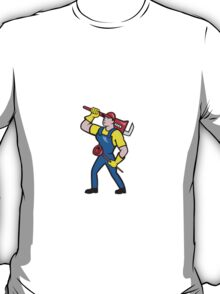 Plumber Carrying Wrench Plunger Cartoon T-Shirt