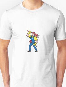 Plumber Carrying Wrench Plunger Cartoon T-Shirt