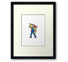Plumber Carrying Wrench Plunger Cartoon Framed Print