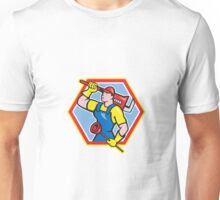 Plumber Holding Plunger Wrench Cartoon Unisex T-Shirt